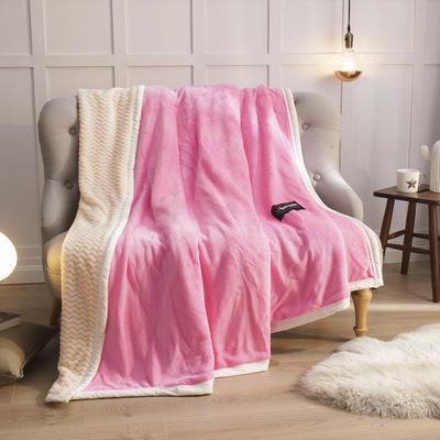2019新贝贝绒大包边单品被套、复合毯二合一 150*200cm 粉红-白