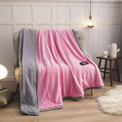 2019新贝贝绒大包边单品被套、复合毯二合一 150*200cm 粉红-灰