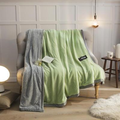 2019新贝贝绒大包边单品被套、复合毯二合一 150*200cm 浅绿-灰