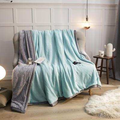 2019新贝贝绒大包边单品被套、复合毯二合一 150*200cm 水蓝-灰