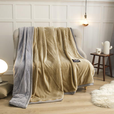 2019新贝贝绒大包边单品被套、复合毯二合一 150*200cm 驼色-灰