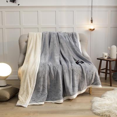 2019新贝贝绒大包边单品被套、复合毯二合一 150*200cm 银灰-白