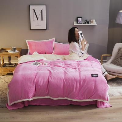 2019新款法兰绒大包边工艺四件套 1.2m床单款三件套 粉红-白