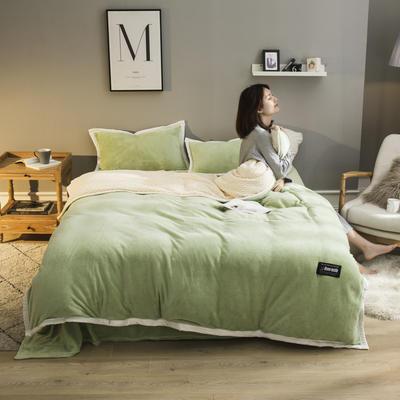2019新款法兰绒大包边工艺四件套 1.2m床单款三件套 浅绿-白