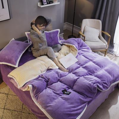 2019新款法兰绒大包边工艺四件套 1.2m床单款三件套 浅紫-白