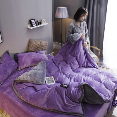 2019新款法兰绒大包边工艺四件套 1.2m床单款三件套 浅紫-灰