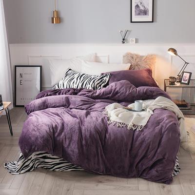 2019新款法兰绒斑马纹四件套 1.0m/1.2m床单款三件套 暗紫斑马纹