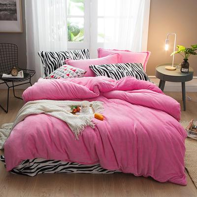 2019新款法兰绒斑马纹四件套 1.0m/1.2m床单款三件套 粉红斑马纹