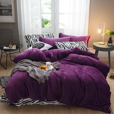 2019新款法兰绒斑马纹四件套 1.0m/1.2m床单款三件套 深紫斑马纹