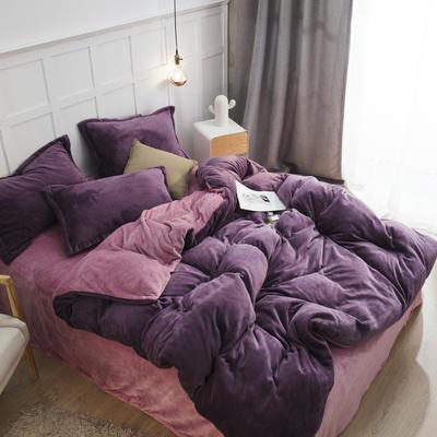 2019新款法兰绒纯色双拼四件套 1.0m/1.2m床单款三件套 暗紫+豆沙