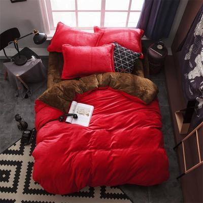 2019新款法兰绒纯色双拼四件套 1.0m/1.2m床单款三件套 大红+咖啡