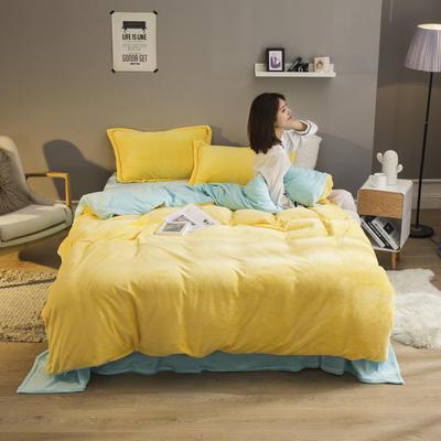 2019新款法兰绒纯色双拼四件套 1.0m/1.2m床单款三件套 鹅黄+水蓝
