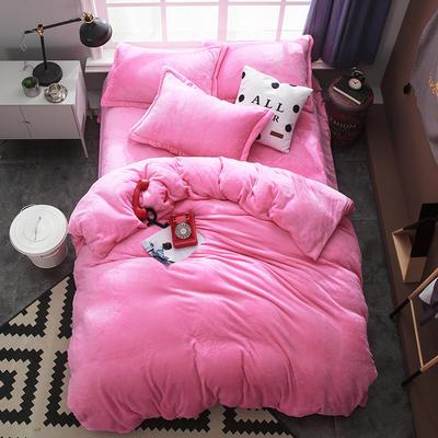 2019新款法兰绒纯色双拼四件套 1.0m/1.2m床单款三件套 粉红