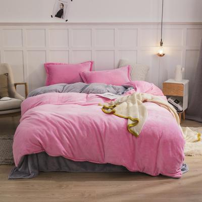 2019新款法兰绒纯色双拼四件套 1.0m/1.2m床单款三件套 粉红+银灰