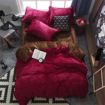 2019新款法兰绒纯色双拼四件套 1.0m/1.2m床单款三件套 酒红+咖啡