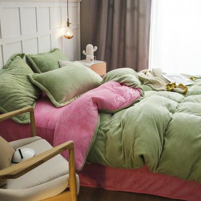 2019新款法兰绒纯色双拼四件套 1.0m/1.2m床单款三件套 浅绿+粉红