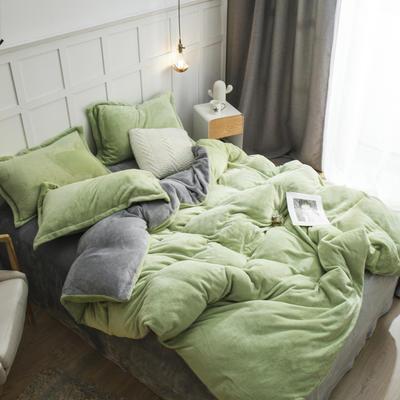 2019新款法兰绒纯色双拼四件套 1.0m/1.2m床单款三件套 浅绿+灰色