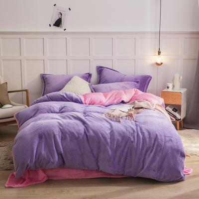 2019新款法兰绒纯色双拼四件套 1.0m/1.2m床单款三件套 浅紫+粉红