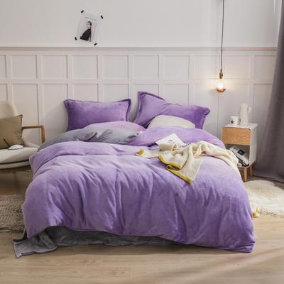 2019新款法兰绒纯色双拼四件套 1.0m/1.2m床单款三件套 浅紫+银灰