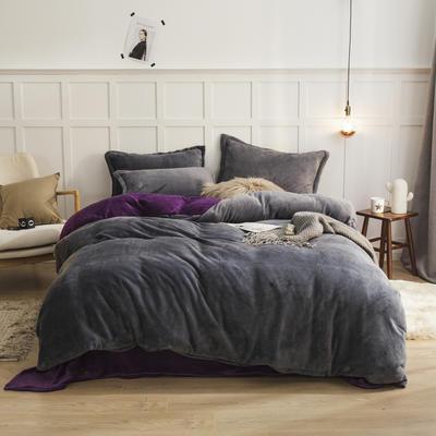 2019新款法兰绒纯色双拼四件套 1.0m/1.2m床单款三件套 深灰+深紫