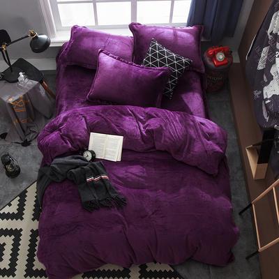 2019新款法兰绒纯色双拼四件套 1.0m/1.2m床单款三件套 深紫