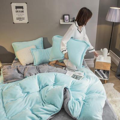 2019新款法兰绒纯色双拼四件套 1.0m/1.2m床单款三件套 水蓝+银灰