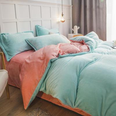 2019新款法兰绒纯色双拼四件套 1.0m/1.2m床单款三件套 水蓝+玉色