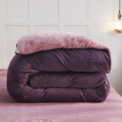 2019新款纯色双拼法兰绒被套 150x200cm 暗紫+豆沙