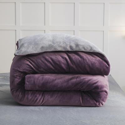 2019新款纯色双拼法兰绒被套 150x200cm 暗紫+银灰