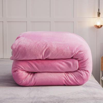 2019新款纯色双拼法兰绒被套 150x200cm 粉红+银灰