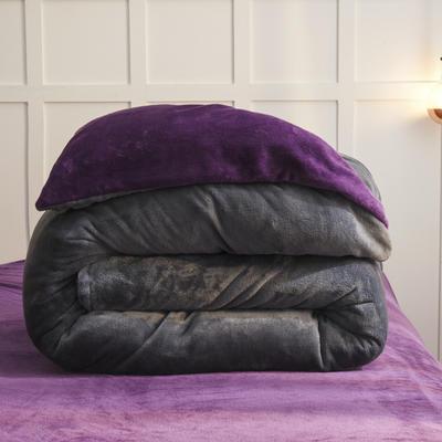 2019新款纯色双拼法兰绒被套 150x200cm 烟灰+深紫