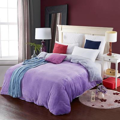 2019新款纯色双拼法兰绒被套 150x200cm 浅紫+浅灰