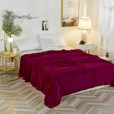 2019新款法兰绒毛毯 150*200cm 酒红