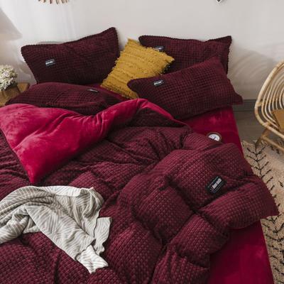 2019新款方块纹金貂绒四件套 1.5m床单款 方块-暗红