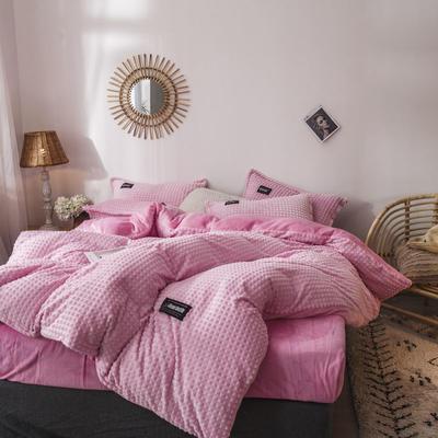 2019新款方块纹金貂绒四件套 1.5m床单款 方块-粉色
