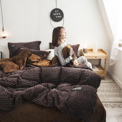 2019新款方块纹金貂绒四件套 1.5m床单款 方块-咖啡