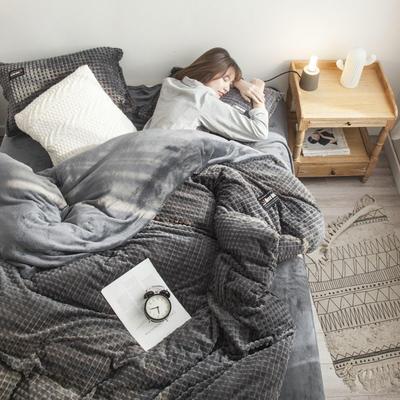 2019新款方块纹金貂绒四件套 1.5m床单款 方块-深灰