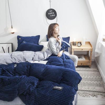 2019新款方块纹金貂绒四件套 1.5m床单款 方块-深蓝