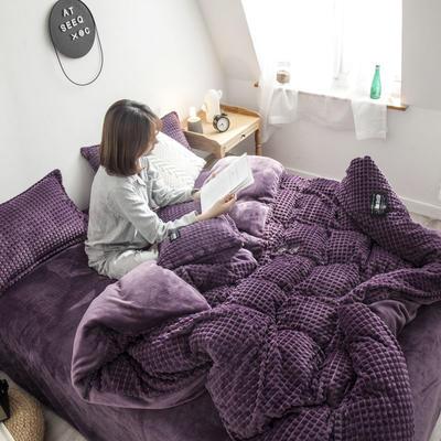 2019新款方块纹金貂绒四件套 1.5m床单款 方块-紫色