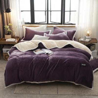 贝贝绒大包边工艺四件套22个花色4个规格 1.2m床单款三件套 暗紫-白
