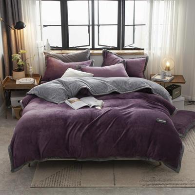 贝贝绒大包边工艺四件套22个花色4个规格 1.2m床单款三件套 暗紫-灰