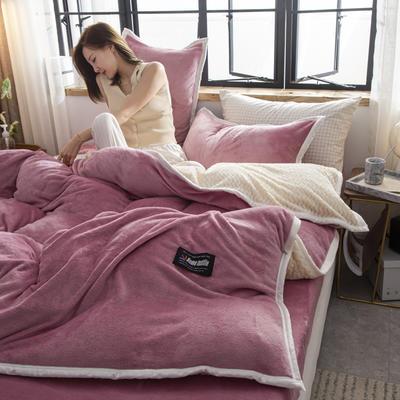 贝贝绒大包边工艺四件套22个花色4个规格 1.2m床单款三件套 豆沙-白