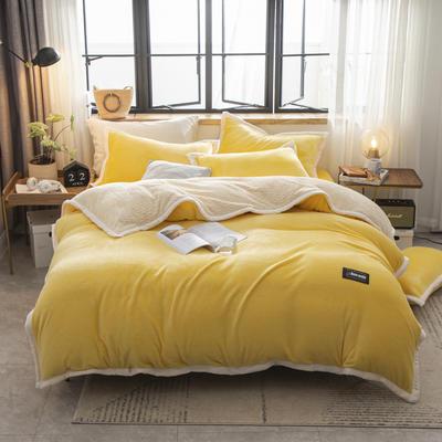 贝贝绒大包边工艺四件套22个花色4个规格 1.2m床单款三件套 鹅黄-白