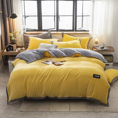 贝贝绒大包边工艺四件套22个花色4个规格 1.2m床单款三件套 鹅黄-灰