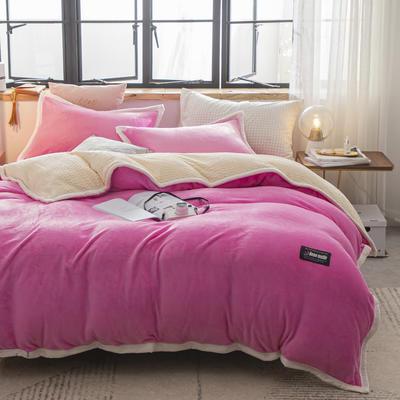 贝贝绒大包边工艺四件套22个花色4个规格 1.2m床单款三件套 粉红-白