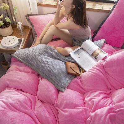 贝贝绒大包边工艺四件套22个花色4个规格 1.2m床单款三件套 粉红-灰