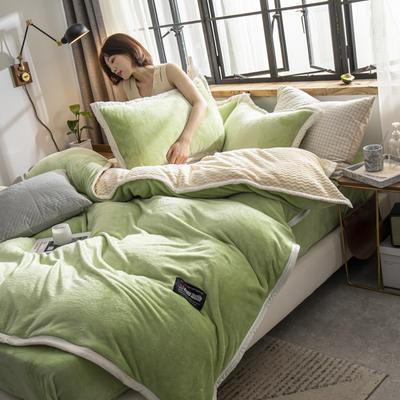 贝贝绒大包边工艺四件套22个花色4个规格 1.2m床单款三件套 浅绿-白