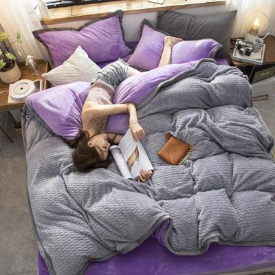 贝贝绒大包边工艺四件套22个花色4个规格 1.2m床单款三件套 浅紫-灰