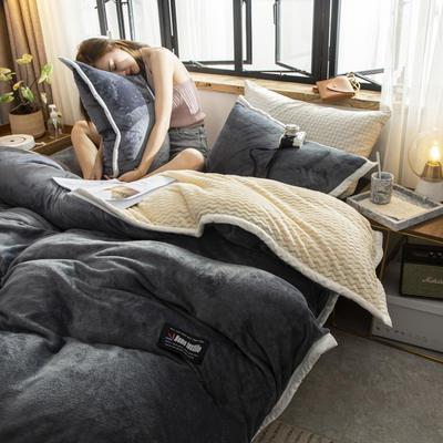 贝贝绒大包边工艺四件套22个花色4个规格 1.2m床单款三件套 深灰-白