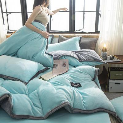贝贝绒大包边工艺四件套22个花色4个规格 1.2m床单款三件套 水蓝-灰
